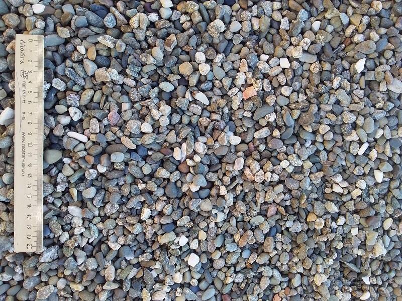 Купить мелкую сеяную гальку серо-синюю